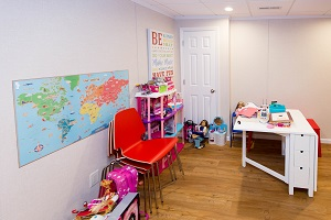 Children's playroom installed in a Superior basement